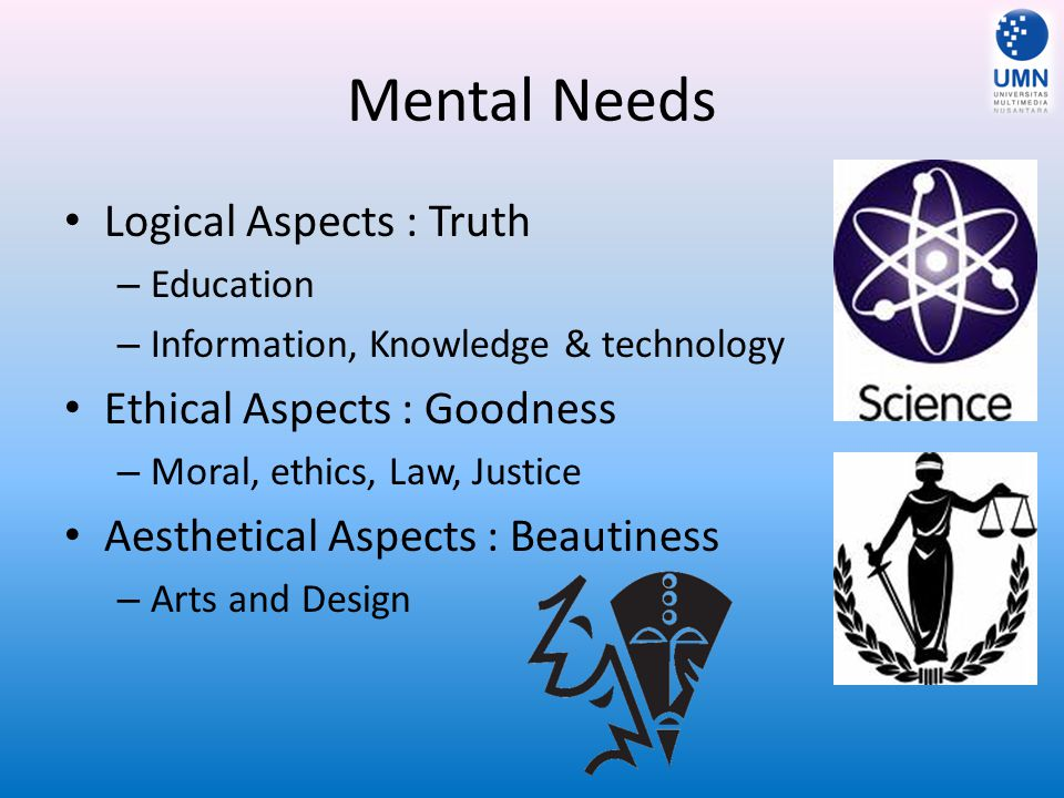 Mental Needs Logical Aspects : Truth Ethical Aspects : Goodness