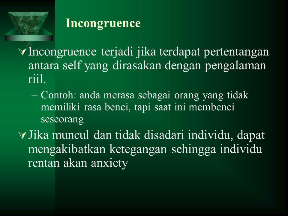 Incongruence Incongruence terjadi jika terdapat pertentangan antara self yang dirasakan dengan pengalaman riil.