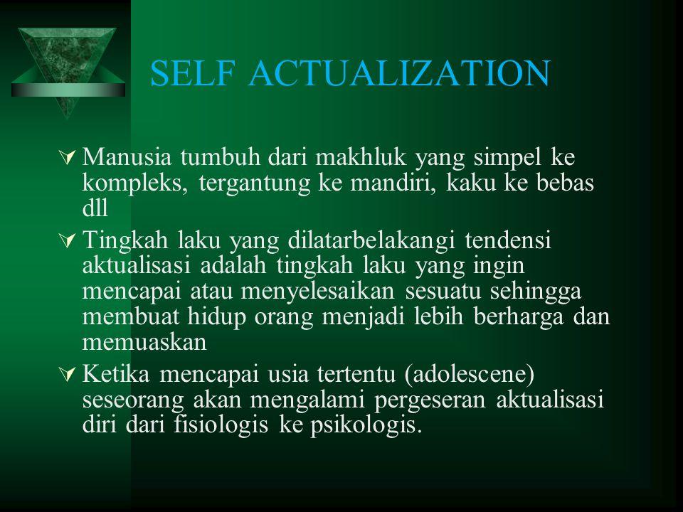 SELF ACTUALIZATION Manusia tumbuh dari makhluk yang simpel ke kompleks, tergantung ke mandiri, kaku ke bebas dll.