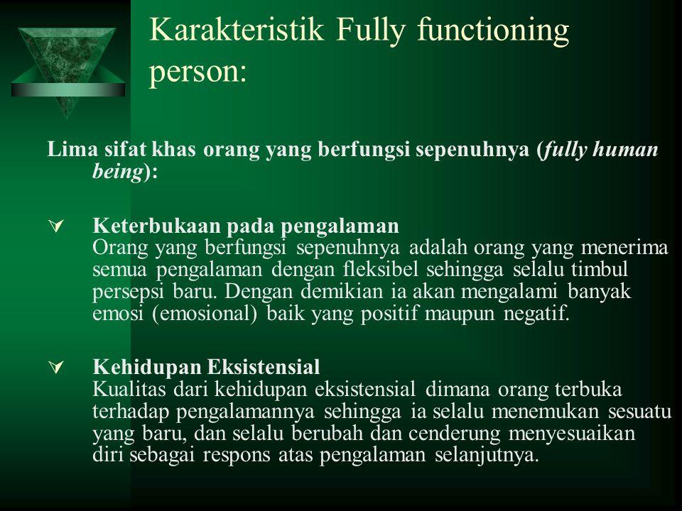 Karakteristik Fully functioning person: