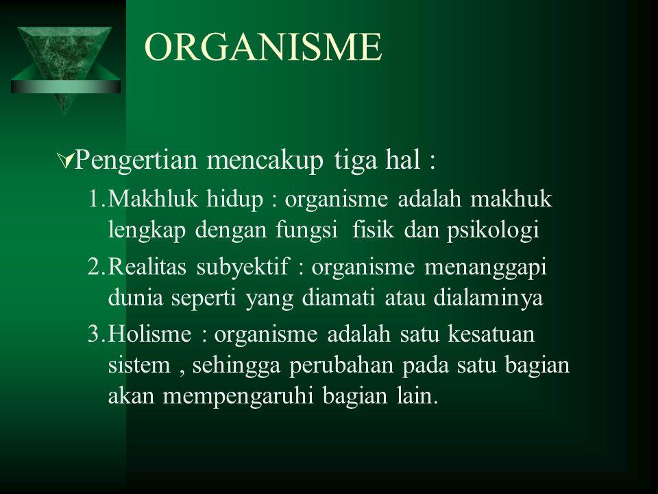 ORGANISME Pengertian mencakup tiga hal :