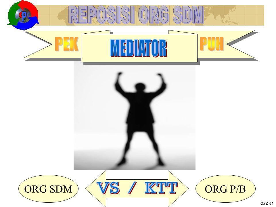 Z O P MEDIATOR REPOSISI ORG SDM ORG SDM ORG P/B PEK PUH VS / KTT