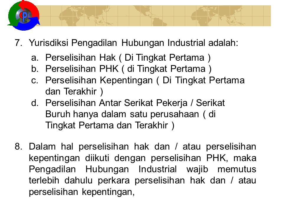 Z O P Yurisdiksi Pengadilan Hubungan Industrial adalah: