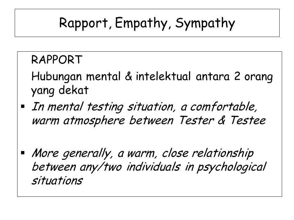 Rapport, Empathy, Sympathy