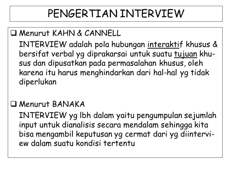 PENGERTIAN INTERVIEW Menurut KAHN & CANNELL