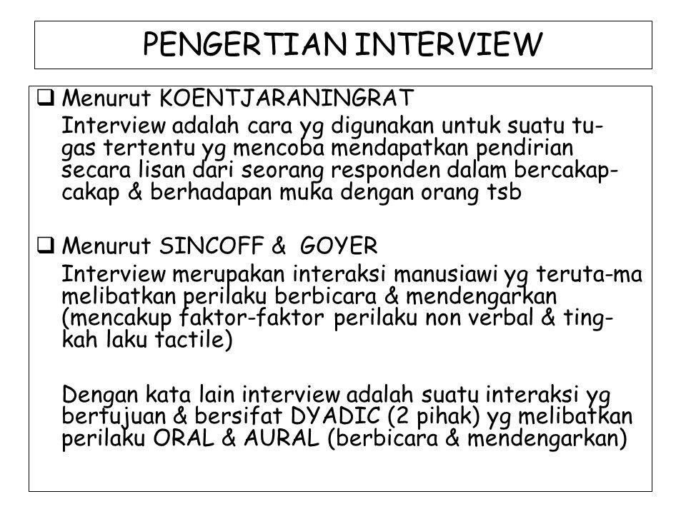 PENGERTIAN INTERVIEW Menurut KOENTJARANINGRAT