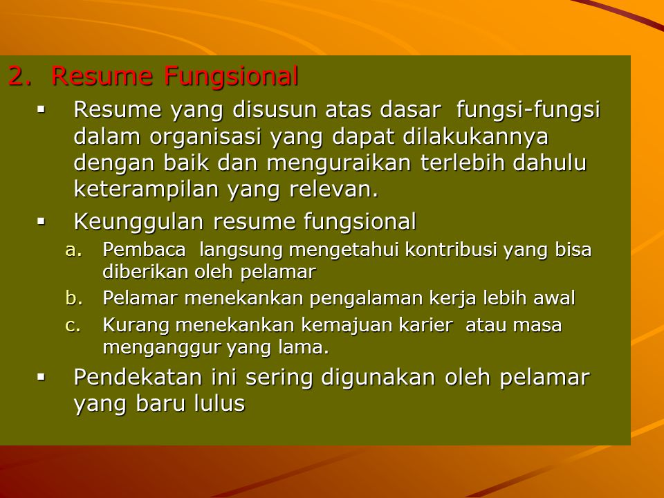 2. Resume Fungsional