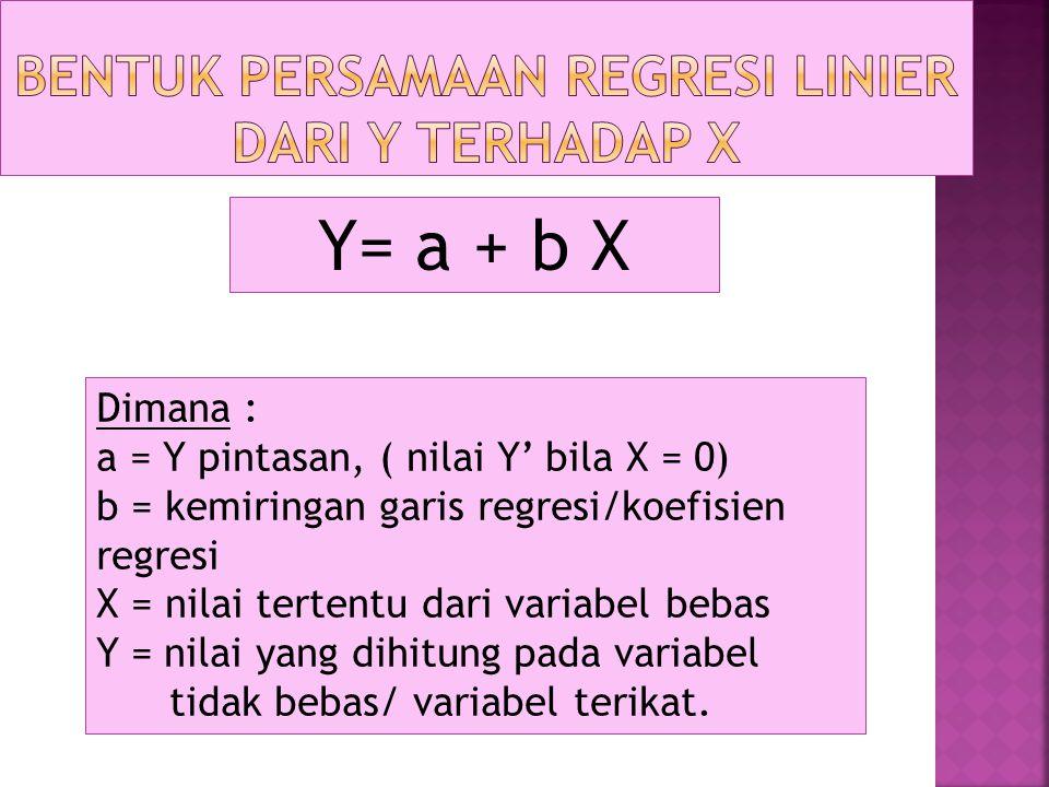 Bentuk Persamaan Regresi Linier dari Y terhadap X