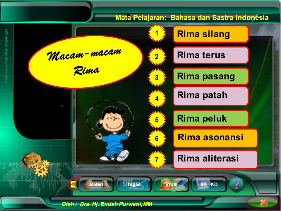 Macam-macam Rima Rima silang Rima terus Rima pasang Rima patah