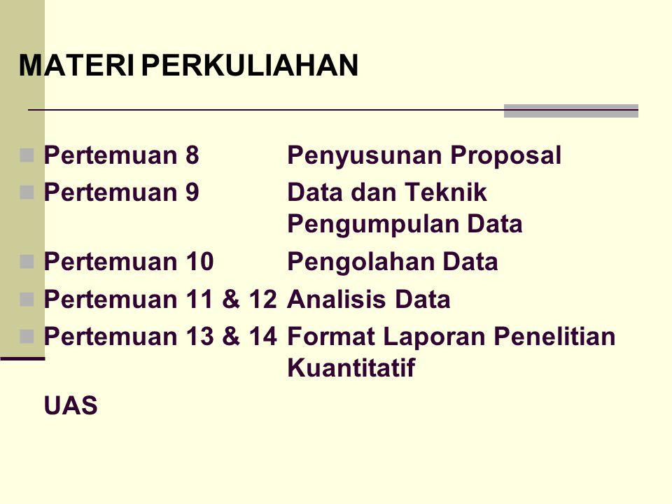 MATERI PERKULIAHAN Pertemuan 8 Penyusunan Proposal