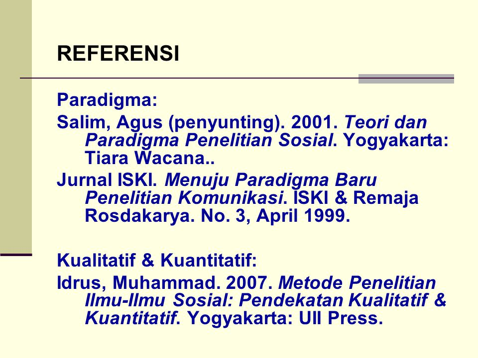 REFERENSI Paradigma: Salim, Agus (penyunting). 2001. Teori dan Paradigma Penelitian Sosial. Yogyakarta: Tiara Wacana..