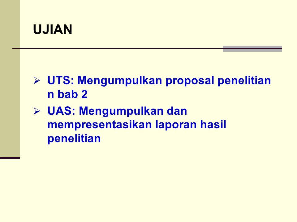 UJIAN UTS: Mengumpulkan proposal penelitian n bab 2