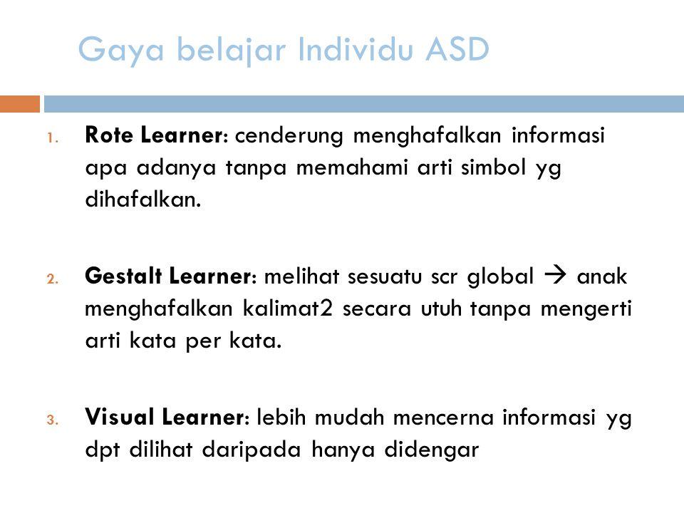 Gaya belajar Individu ASD