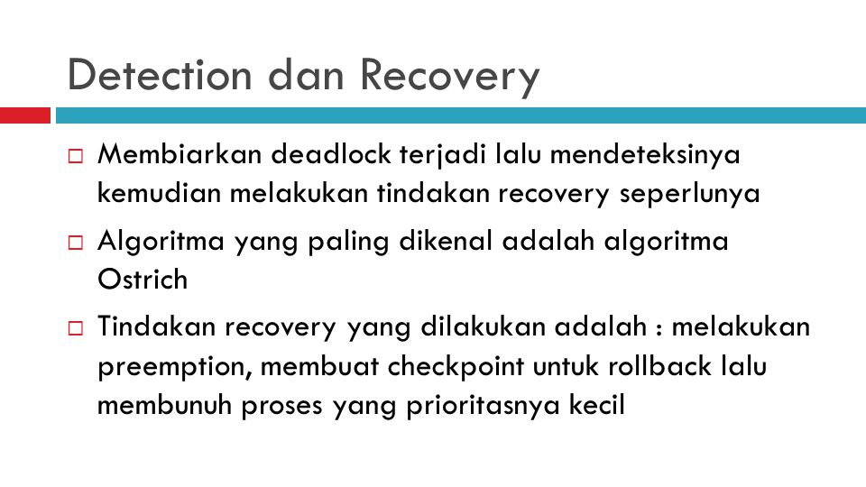 Detection dan Recovery