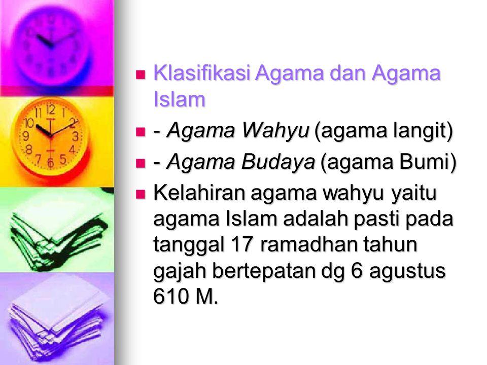 Klasifikasi Agama dan Agama Islam