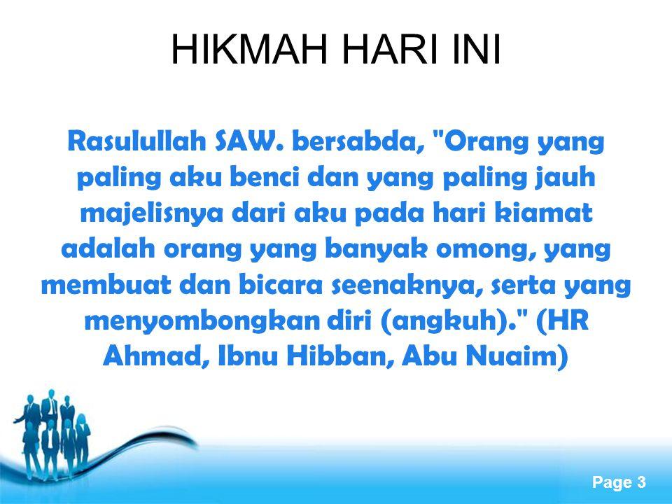 HIKMAH HARI INI
