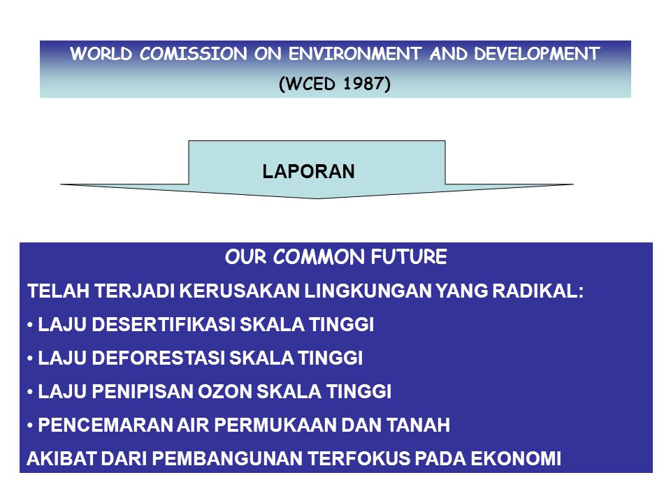 WORLD COMISSION ON ENVIRONMENT AND DEVELOPMENT