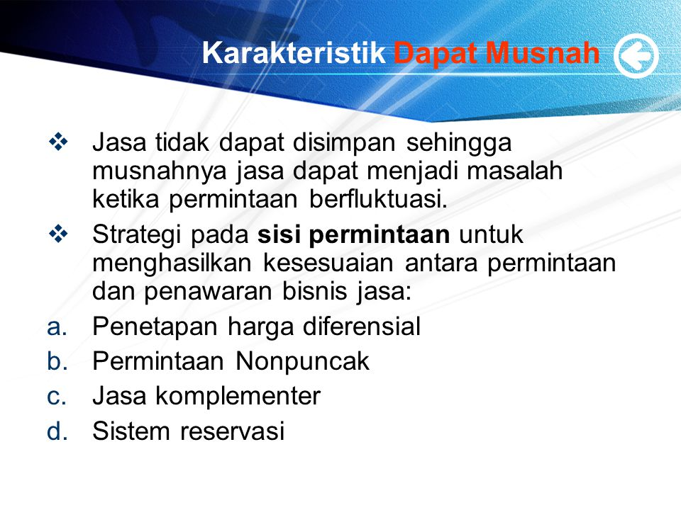 Karakteristik Dapat Musnah