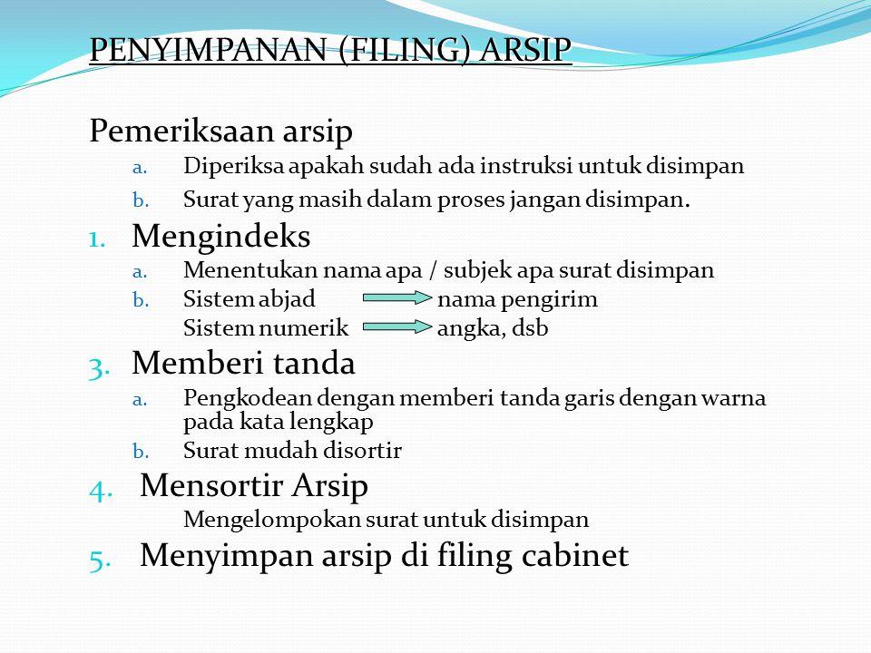 PENYIMPANAN (FILING) ARSIP Pemeriksaan arsip