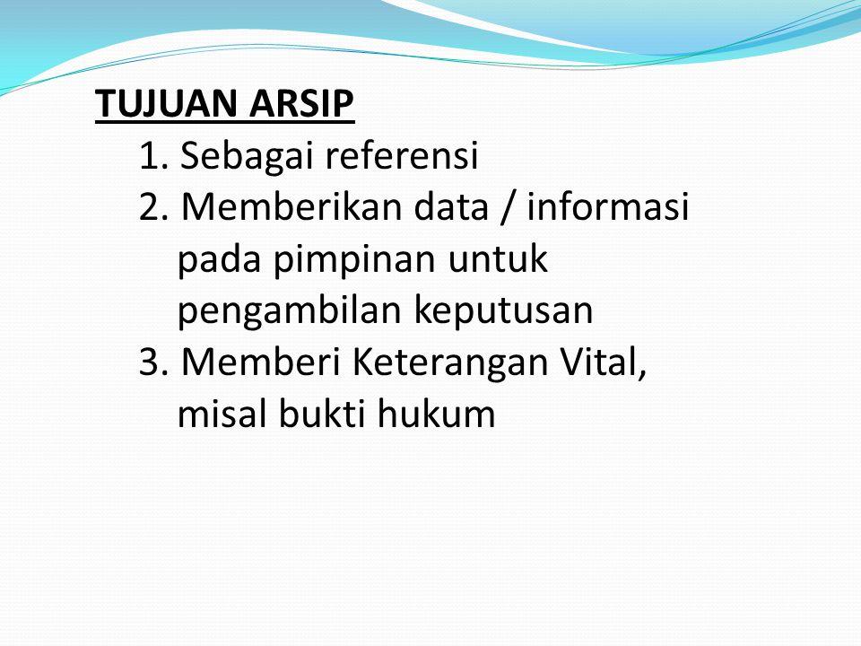 TUJUAN ARSIP 1. Sebagai referensi. 2. Memberikan data / informasi. pada pimpinan untuk. pengambilan keputusan.