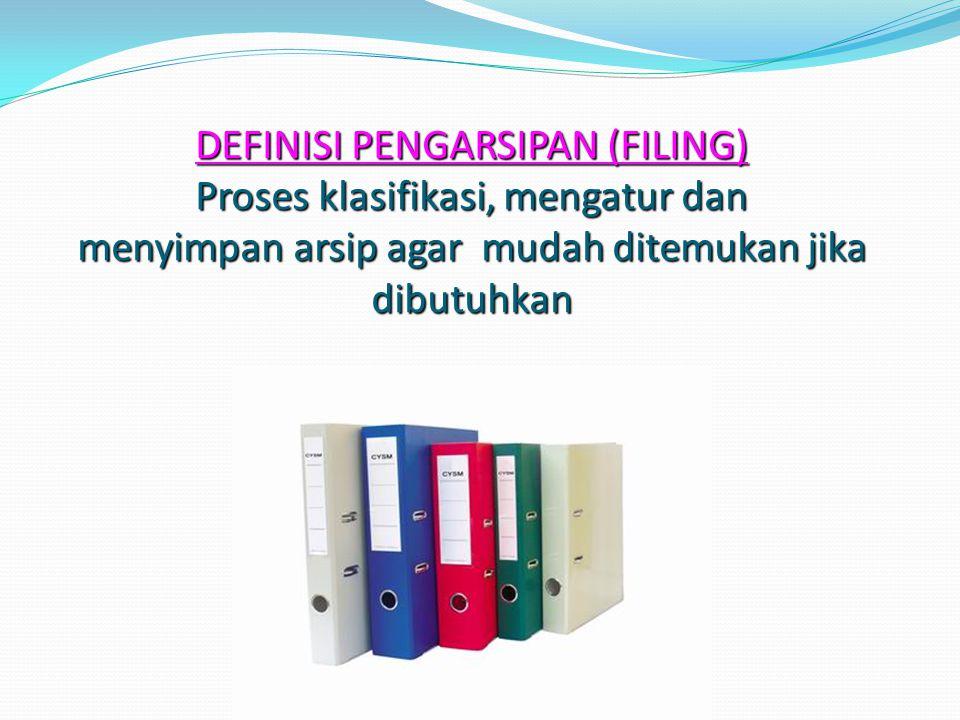 DEFINISI PENGARSIPAN (FILING) Proses klasifikasi, mengatur dan menyimpan arsip agar mudah ditemukan jika dibutuhkan