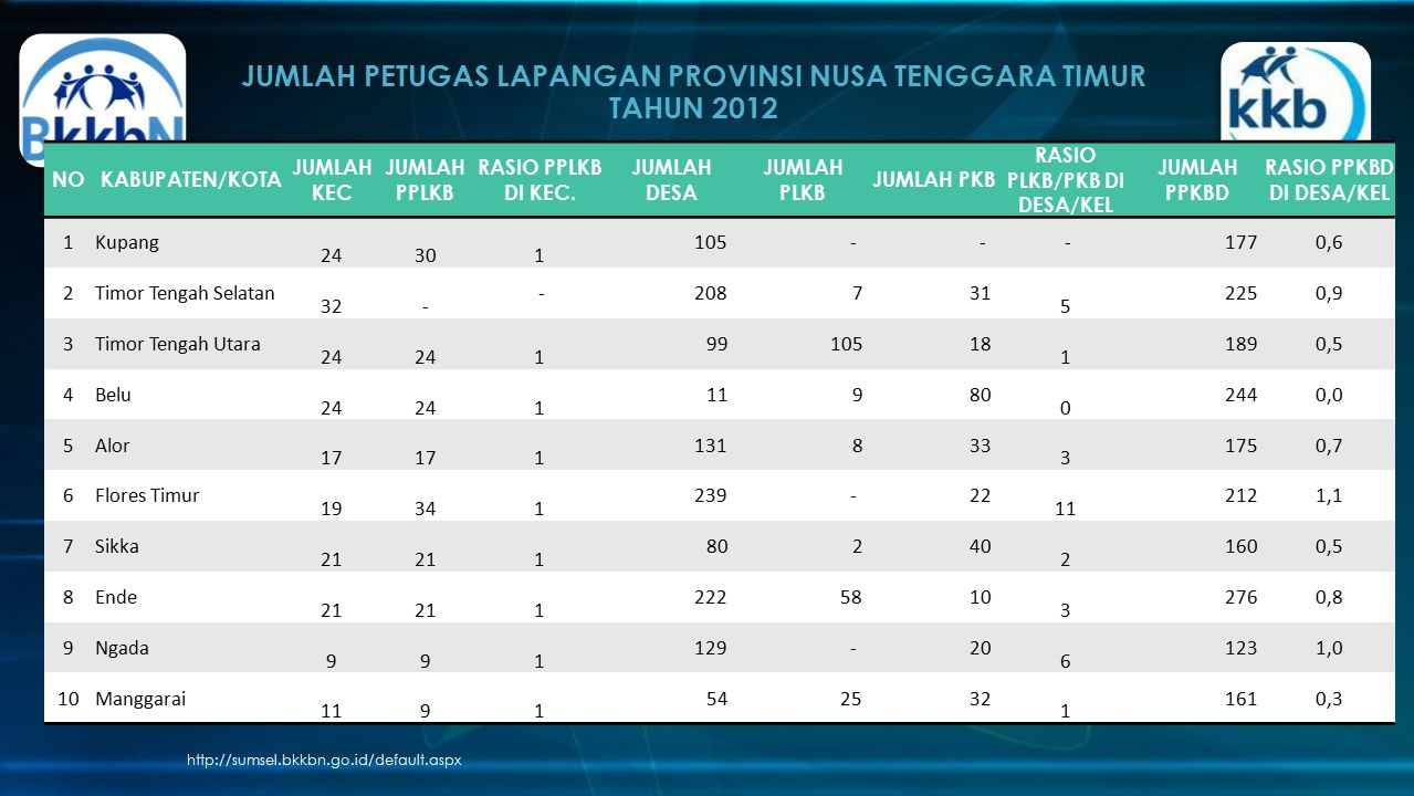 JUMLAH PETUGAS LAPANGAN PROVINSI NUSA TENGGARA TIMUR TAHUN 2012