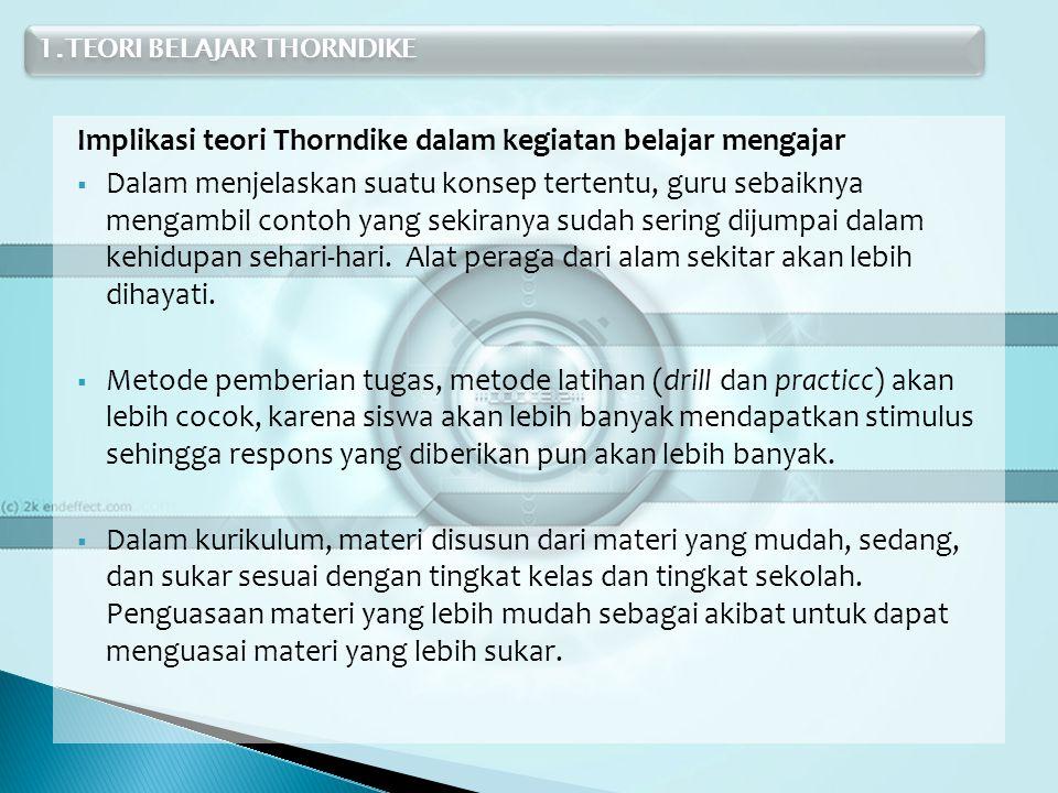 Implikasi teori Thorndike dalam kegiatan belajar mengajar