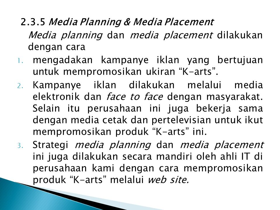 2.3.5 Media Planning & Media Placement