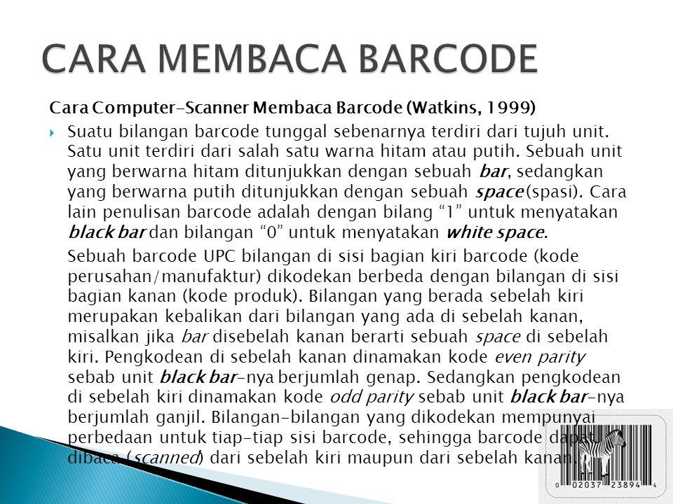 CARA MEMBACA BARCODE Cara Computer-Scanner Membaca Barcode (Watkins, 1999)