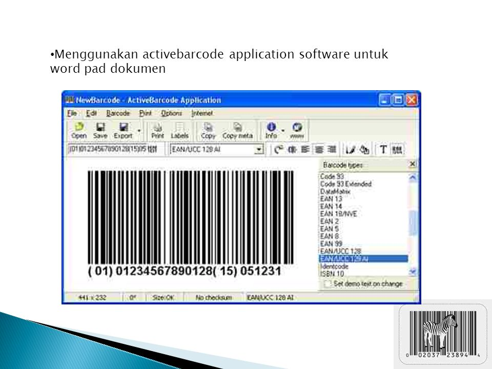 Menggunakan activebarcode application software untuk word pad dokumen