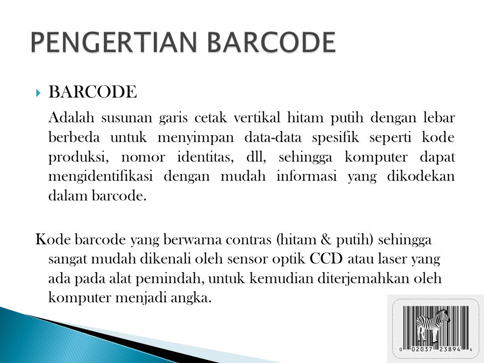 PENGERTIAN BARCODE BARCODE