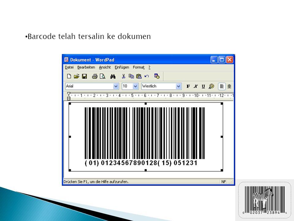 Barcode telah tersalin ke dokumen