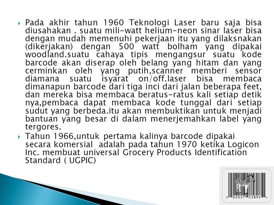 Pada akhir tahun 1960 Teknologi Laser baru saja bisa diusahakan