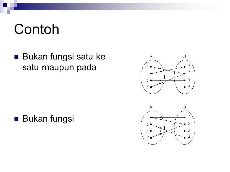 Contoh Bukan fungsi satu ke satu maupun pada Bukan fungsi