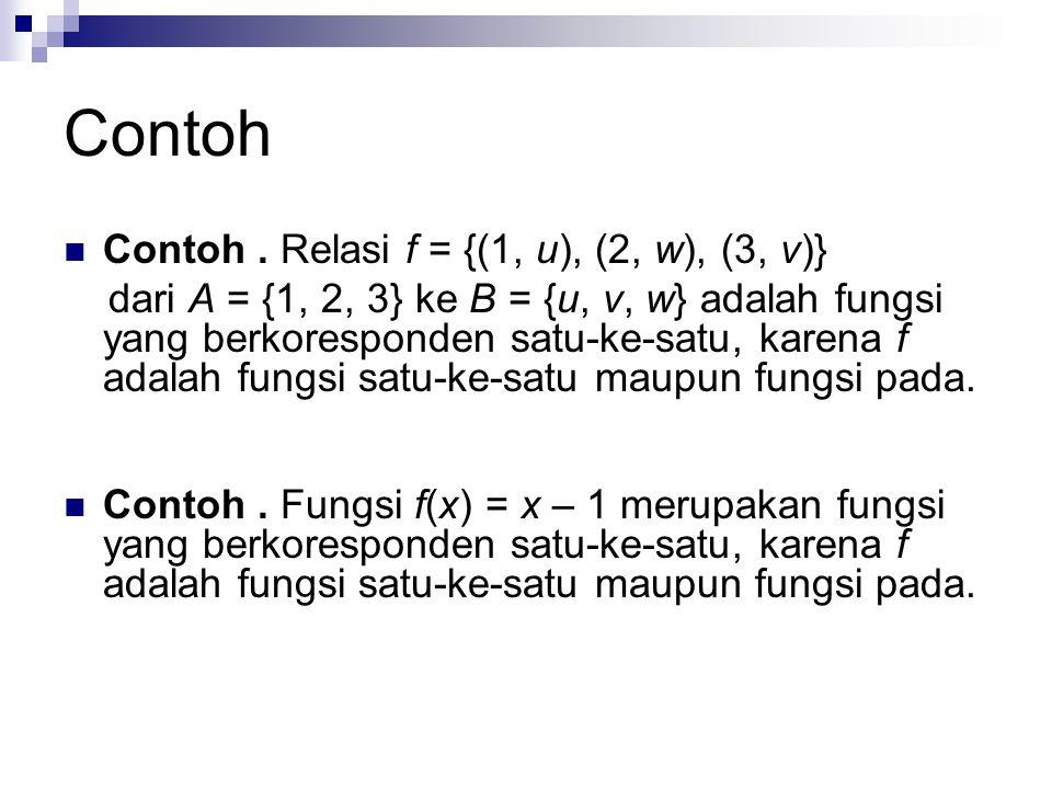Contoh Contoh . Relasi f = {(1, u), (2, w), (3, v)}