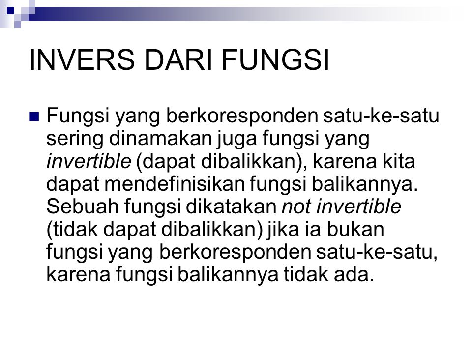 INVERS DARI FUNGSI