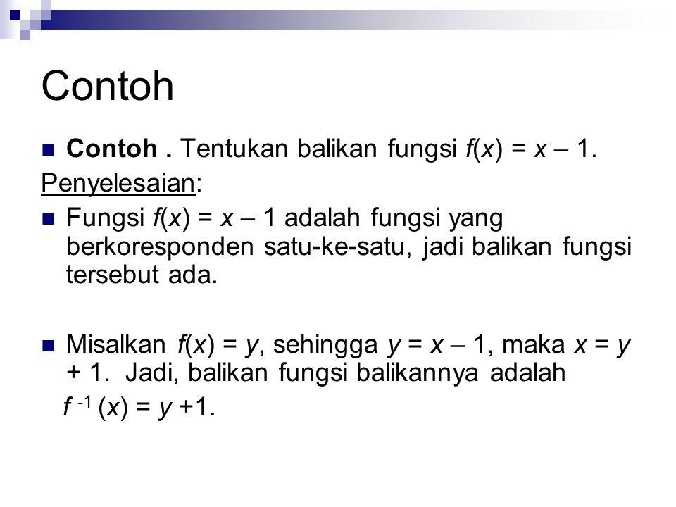 Contoh Contoh . Tentukan balikan fungsi f(x) = x – 1. Penyelesaian: