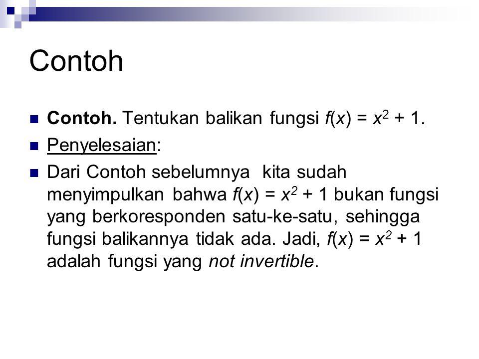 Contoh Contoh. Tentukan balikan fungsi f(x) = x2 + 1. Penyelesaian: