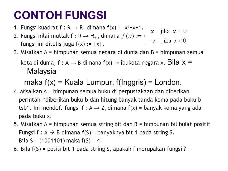 CONTOH FUNGSI maka f(x) = Kuala Lumpur, f(Inggris) = London.
