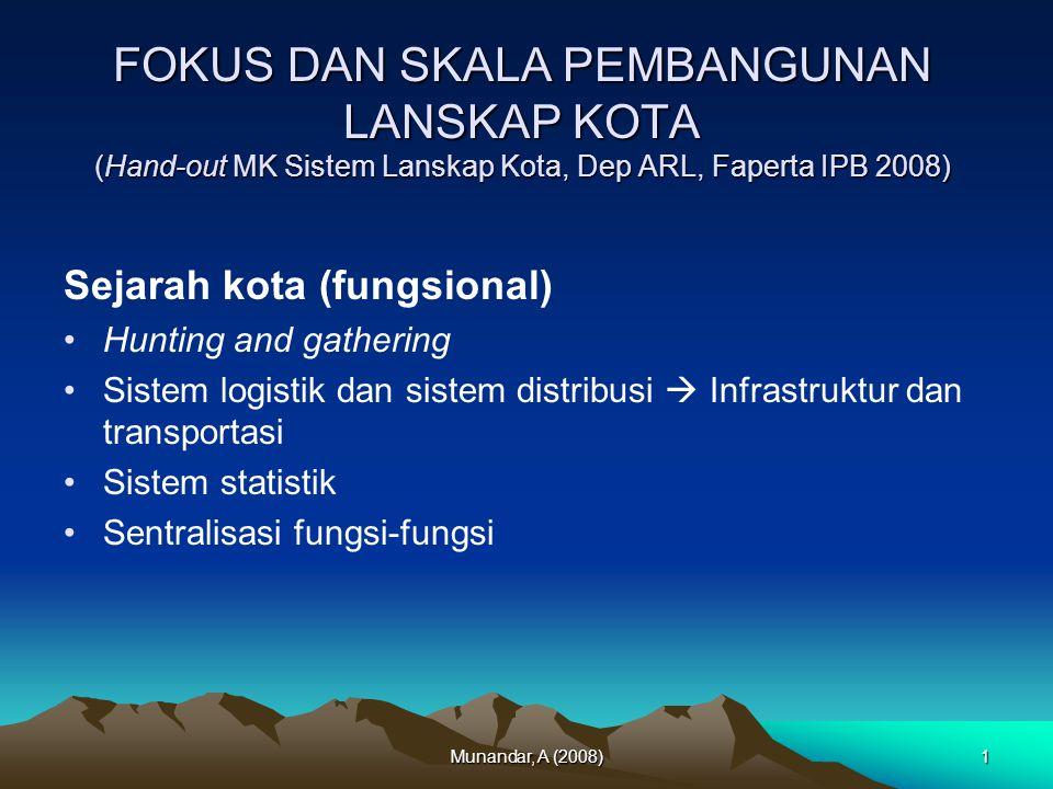 FOKUS DAN SKALA PEMBANGUNAN LANSKAP KOTA (Hand-out MK Sistem Lanskap Kota, Dep ARL, Faperta IPB 2008)