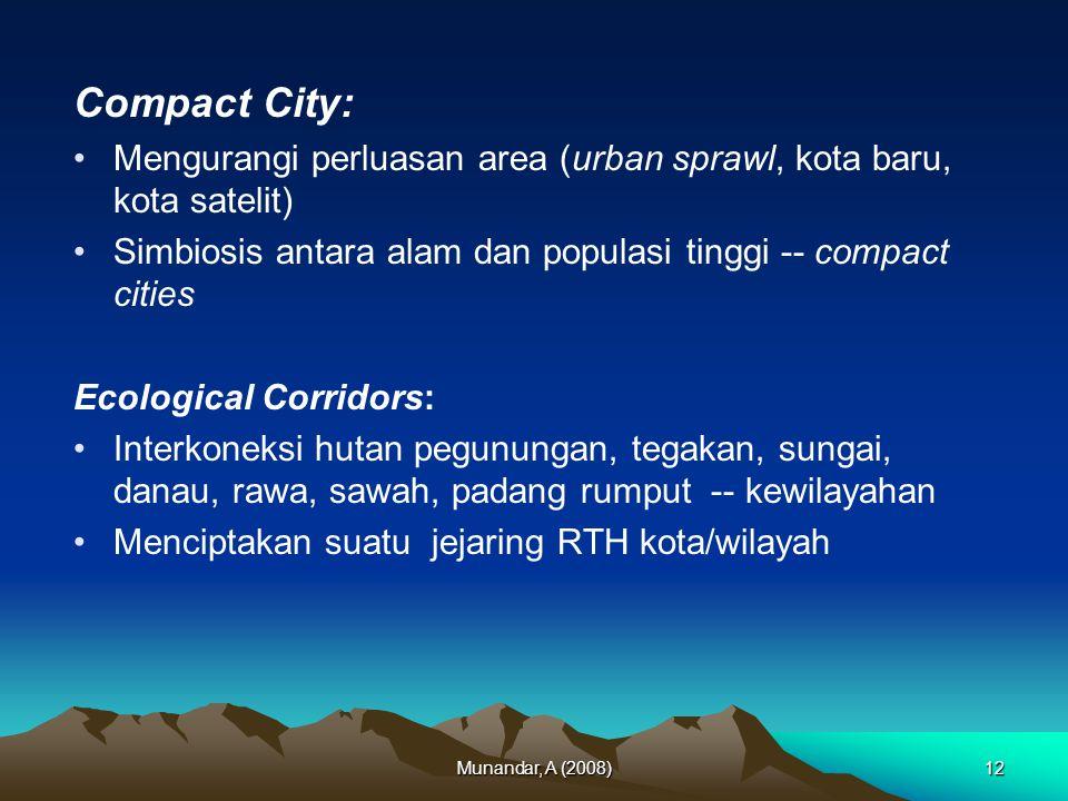 Compact City: Mengurangi perluasan area (urban sprawl, kota baru, kota satelit) Simbiosis antara alam dan populasi tinggi -- compact cities.