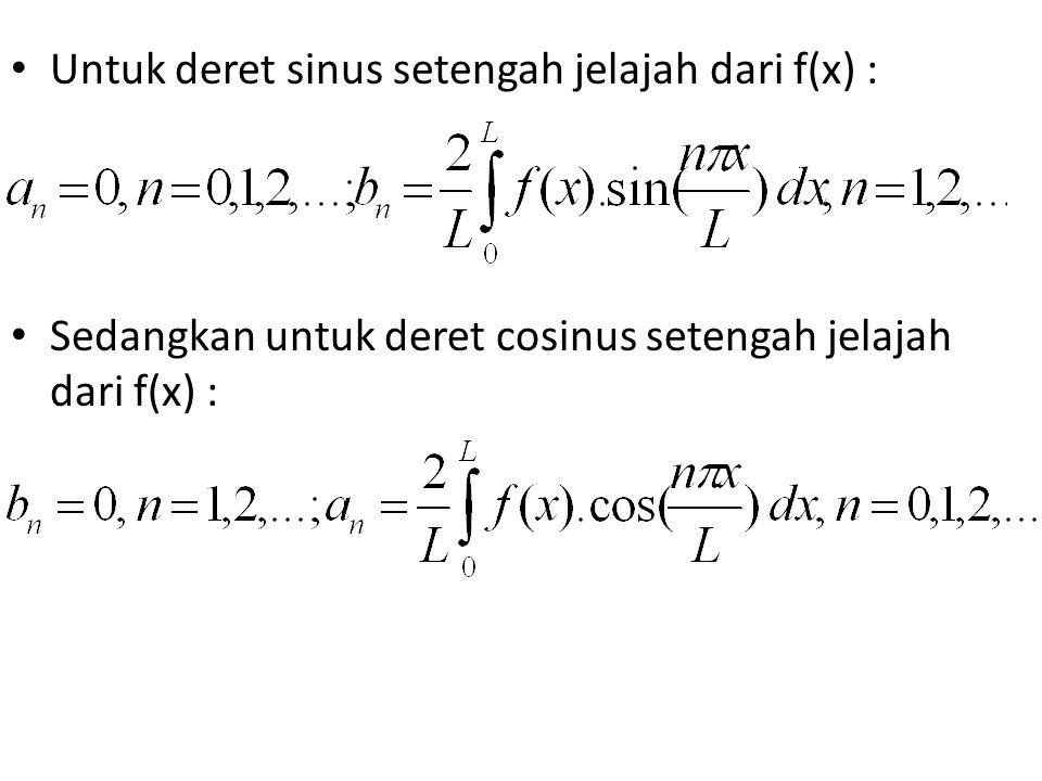Untuk deret sinus setengah jelajah dari f(x) :