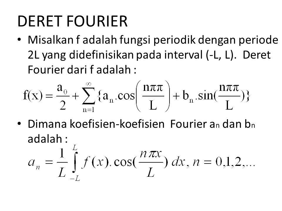 DERET FOURIER Misalkan f adalah fungsi periodik dengan periode 2L yang didefinisikan pada interval (-L, L). Deret Fourier dari f adalah :