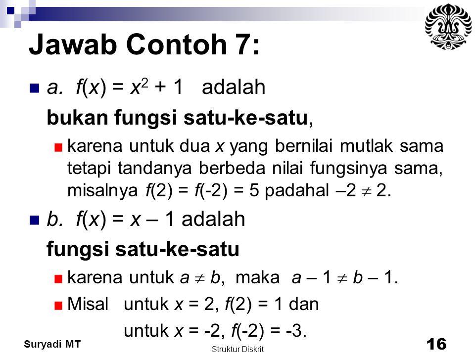 Jawab Contoh 7: a. f(x) = x2 + 1 adalah bukan fungsi satu-ke-satu,