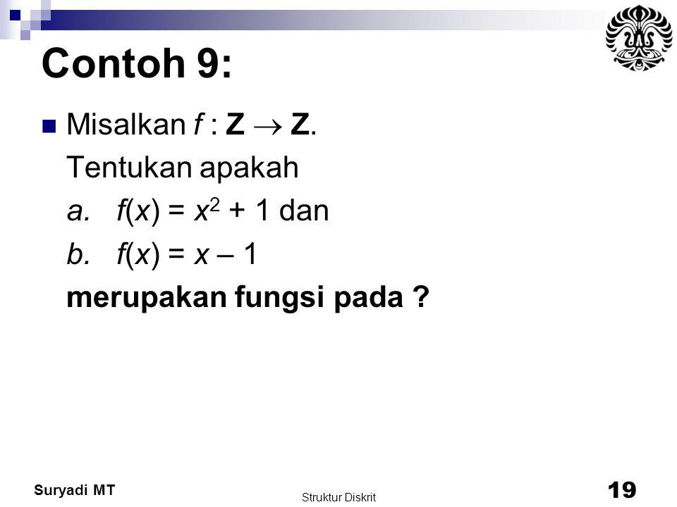 Contoh 9: Misalkan f : Z  Z. Tentukan apakah a. f(x) = x2 + 1 dan