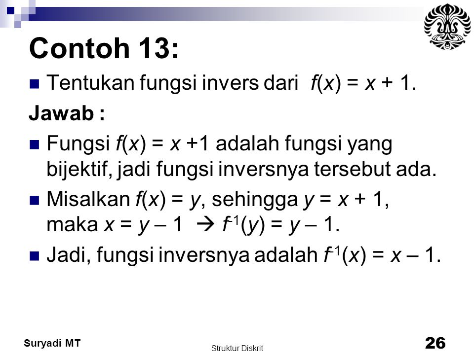 Contoh 13: Tentukan fungsi invers dari f(x) = x + 1. Jawab :
