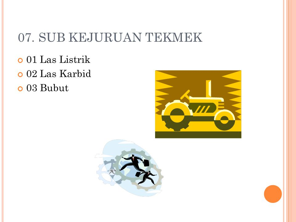 07. SUB KEJURUAN TEKMEK 01 Las Listrik 02 Las Karbid 03 Bubut