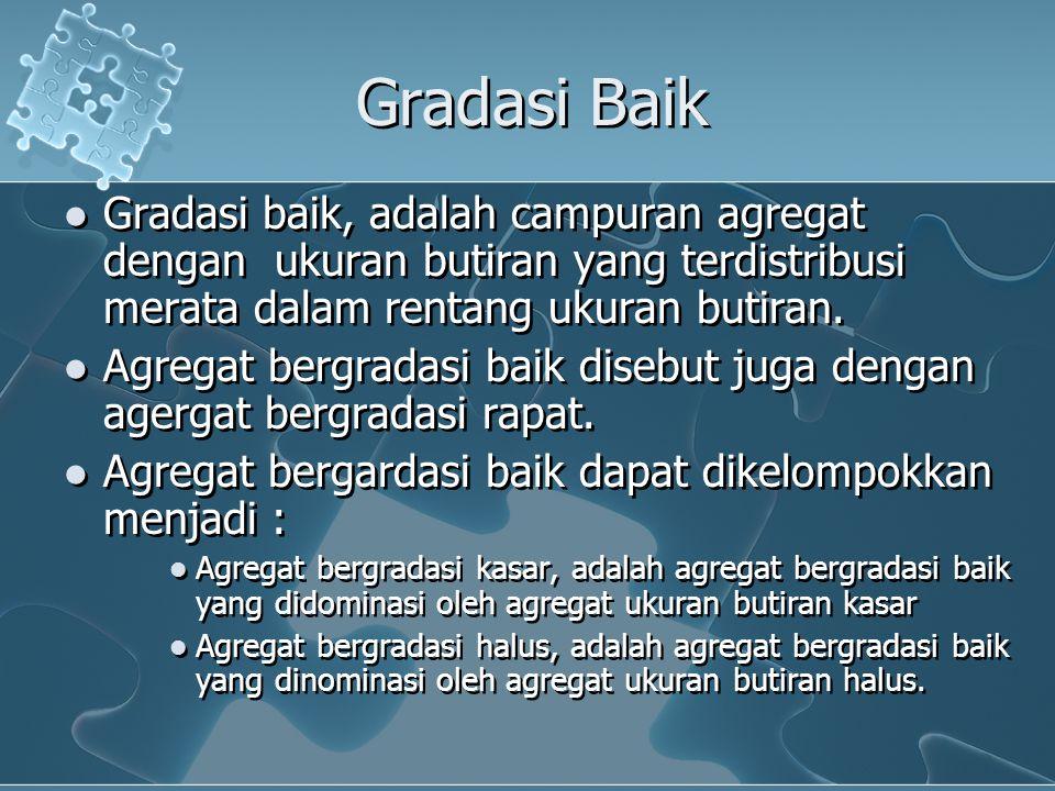 Gradasi Baik Gradasi baik, adalah campuran agregat dengan ukuran butiran yang terdistribusi merata dalam rentang ukuran butiran.