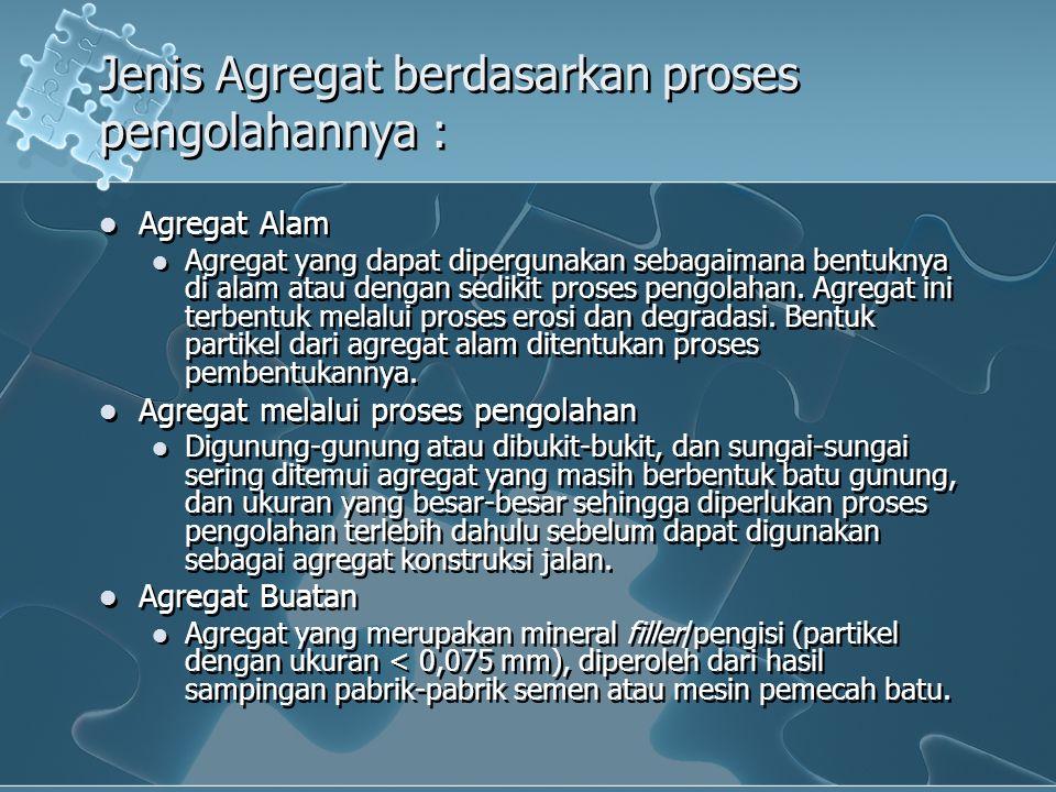 Jenis Agregat berdasarkan proses pengolahannya :