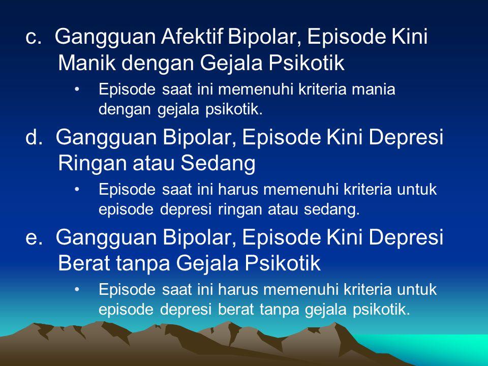 c. Gangguan Afektif Bipolar, Episode Kini Manik dengan Gejala Psikotik